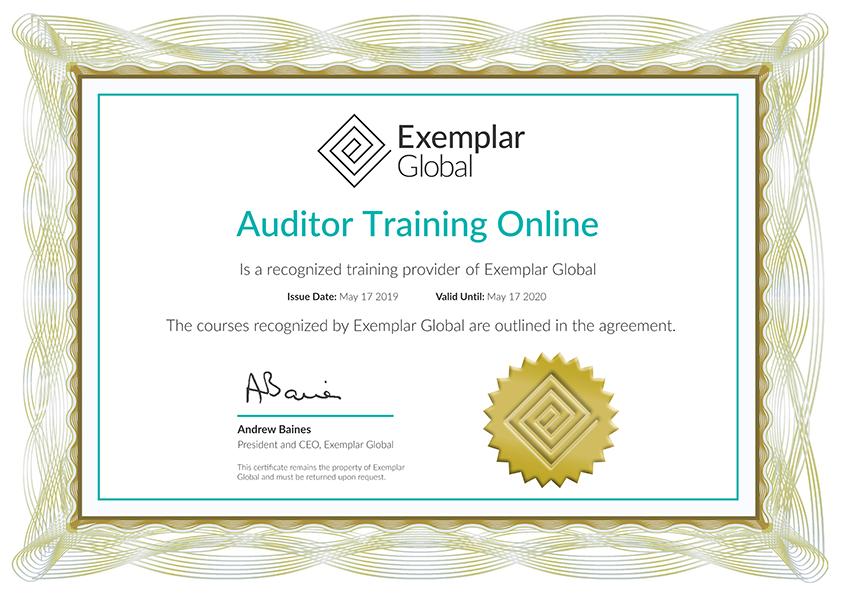 Auditor Training Online - Industry Info